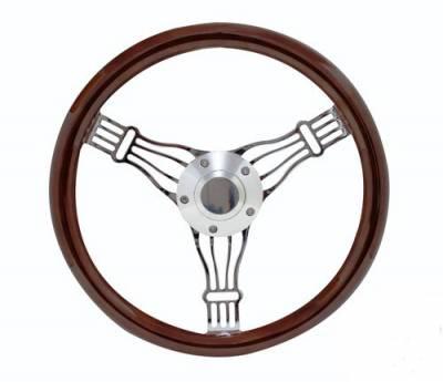 """Forever Sharp Steering Wheels - 14"""" Discord Dark Wood Steering Wheel - Image 1"""