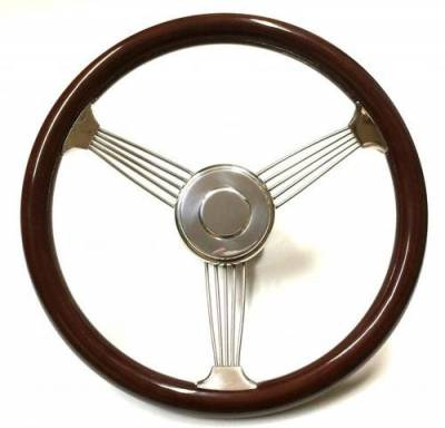 "Steering Wheels - Banjo Steering Wheels - Forever Sharp Steering Wheels - 15"" Banjo Wood Steering Wheel, Light or Dark Finish"