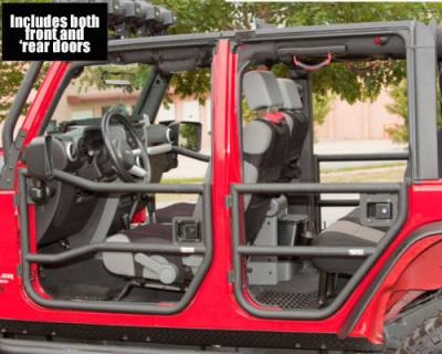 Offroad - Doors - Rugged Ridge - Black Tube Front and Rear Half Doors for 2007 to 2014 Jeep Wrangler JK by Rugged Ridge
