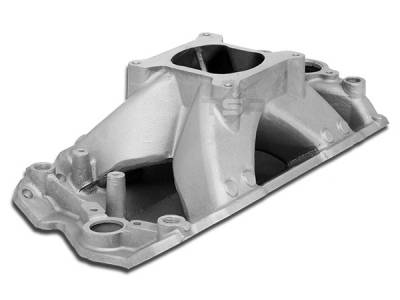 Engine - Intake Manifolds - Big Dog Auto - 1957 to 1995 Small Block Chevy V8 Hurricane Intake Manifold Satin Aluminum