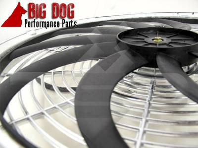 Big Dog Auto - Two Fourteen-Inch Chrome Finish Radiator Cooling Fans & Electric Relay - Image 2