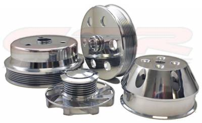 Engine - Pulleys & Brackets - CFR - Serpentine Pulley Set for Small Block Chevy (Long Water Pump)  6 Groove Polished Billet Aluminum