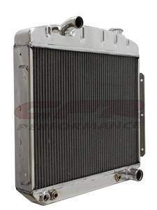 Cooling System - CFR - Polished Aluminum Radiator for 1955 to 1957 Chevy - Direct Fit, Direct Replacement Inline Six Cylinder