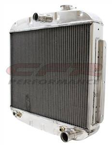 Cooling System - CFR - Polished Aluminum Radiator for 1955 to 1957 Chevy - Direct Fit, Direct Replacement Eight Cylinder