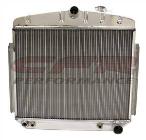Cooling System - CFR - Polished Aluminum Radiator for 1955 to 1956 Chevy - Direct Fit, Direct Replacement Six Cylinder