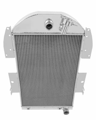 Radiators - Aluminum Radiators - Champion Cooling Systems - 1934-1936 Chevy Pick Up Truck V8 Conversion Straight Fittings and Transcooler 3 Row Aluminum Radiator CC3436CH