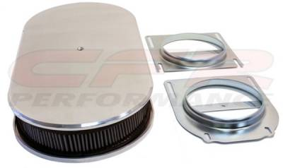 "Engine - Air Cleaners - CFR - Chevy Ford Mopar 19"" Oval Smooth Polished (Dual Quad) Aluminum Air Cleaner"
