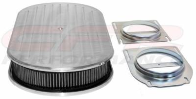 "CFR - Chevy Ford Mopar 19"" Oval Polished Aluminum Air Cleaner (Dual Quad) Ball Milled"