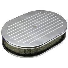 "Engine - Air Cleaners - CFR - Chevy Ford Mopar 12"" Oval Polished Air Cleaner Ball Milled"