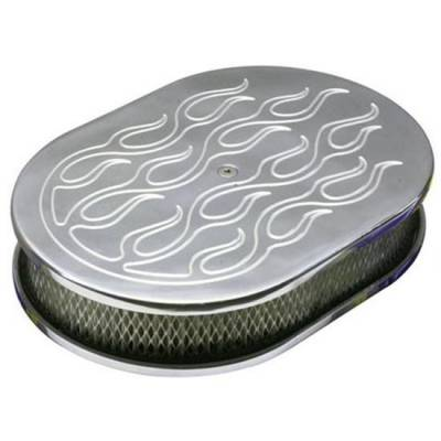 "CFR - Chevy Ford Mopar 12"" Oval Flamed Chrome Air Cleaner"