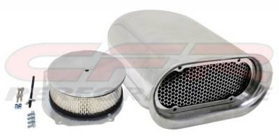 Engine - Air Cleaners - CFR - Single 4 Barrel Scoop Air Cleaner Smooth Chrome Hilborn Style