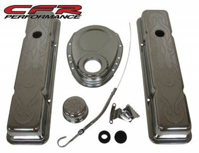 CFR - 1958-86 Chevy Small Block 283-305-327-350 Chrome Steel (Short) Engine Dress Up Kit - Flamed