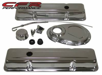 CFR - 1958-86 Chevy Small Block 283-305-327-350 Chrome Steel (Short) Engine Dress Up Kit - Smooth