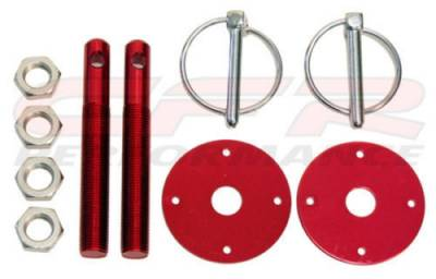 Exterior - Hood Pins and Latches - CFR - Red Flip Over Style Hood Pin Kit