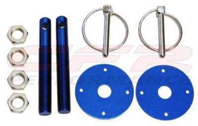 Exterior - Hood Pins and Latches - CFR - Blue Flip Over Style Hood Pin Kit