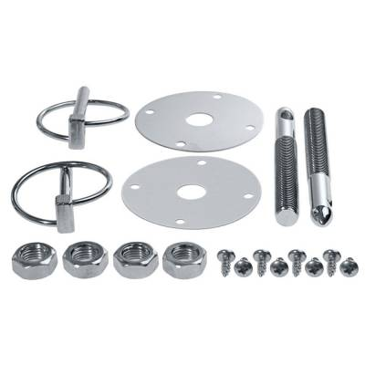 Exterior - Hood Pins and Latches - CFR - Silver Flip Over Style Hood Pin Kit