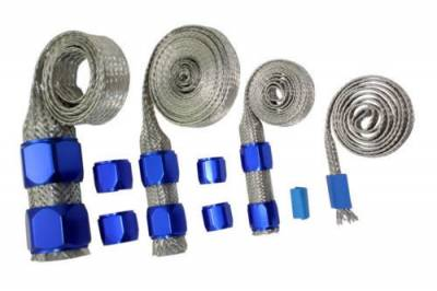 Cooling System - Cooling Accessories - Big Dog Auto - Blue Braided Hose Sleeve Kit