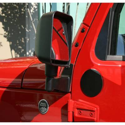 Exterior - Rugged Ridge - Mirror Relocation Brackets, Black; 07-16 Jeep Wrangler JK