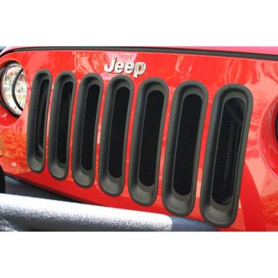 Exterior - Accessories - Rugged Ridge - Grille Inserts, Black; 07-16 Jeep Wrangler JK