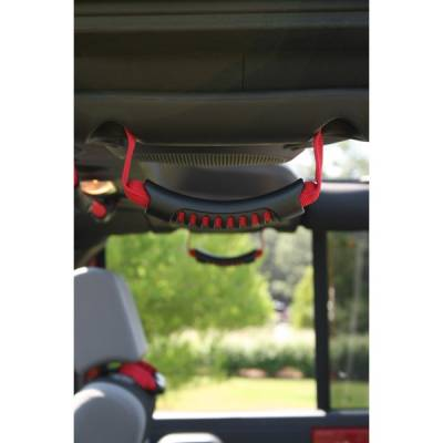 Interior Accessories - Handles and Cranks - Rugged Ridge - Rear Side Grab Handles, Red; 07-16 Jeep Wrangler JKU
