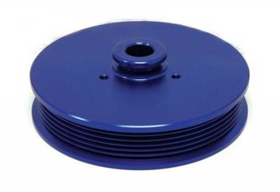 Power Steering Pulley for 5.0 Mustang 1979 to 1993 Anodized Blue Billet Aluminum