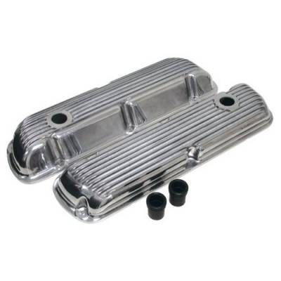 RPC - 1964-74  Ford Small Block Polished Billet Nostalgic Aluminum Finned Valve Covers