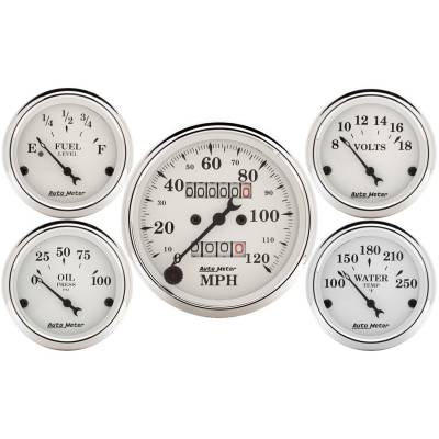 "Interior Accessories - Gauges - AutoMeter - 5 Pc. Gauge Kit, 3-1/8"" & 2-1/16"", Mech. Speedometer, Old Tyme White"