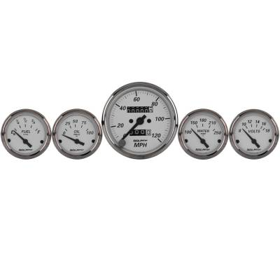 "Gauges - Aftermarket Gauges - AutoMeter - 5 Pc. Gauge Kit, 3-1/8"" & 2-1/16"", Mech. Speedometer, American Platinum"