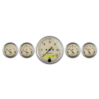 "Gauges - Aftermarket Gauges - AutoMeter - 5 Pc. Gauge Kit, 3-1/8"" & 2-1/16"",  Electric Speedometer, Antique Beige"