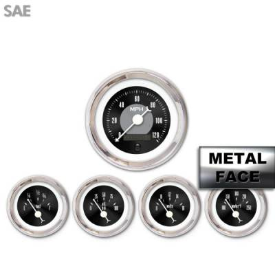 Interior Accessories - Aurora Instruments - Assembled 5 Gauge Set - American Classic ~ Black Face, White Classic Needles, Chrome Bezels
