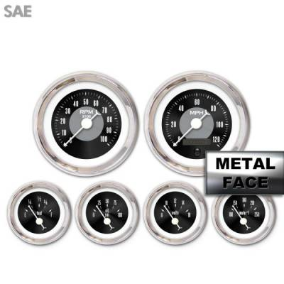 Interior Accessories - Aurora Instruments - Assembled 6 Gauge Set - American Classic ~ Black Face, White Classic Needles, Chrome Bezels