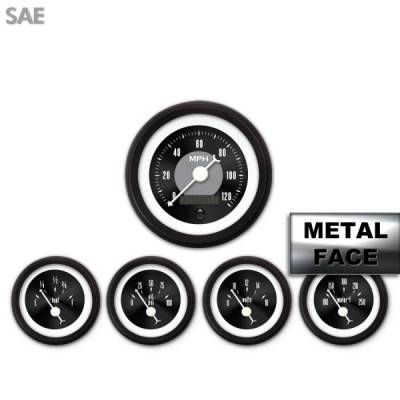 Interior Accessories - Gauges - Aurora Instruments - Assembled 5 Gauge Set - American Classic ~ Black Face, White Classic Needles, Black Bezels