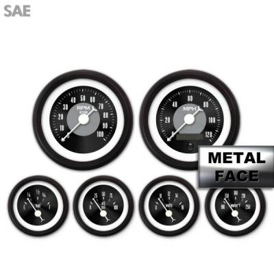 Interior Accessories - Gauges - Aurora Instruments - Assembled 6 Gauge Set - American Classic ~ Black Face, White Classic Needles, Black Bezels