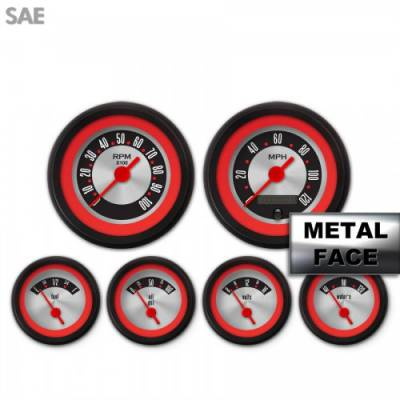 Interior Accessories - Gauges - Aurora Instruments - Assembled 6 Gauge Set - American Retro Rodder ~ Red Ring Face, Red Vintage Needles, Black Bezels