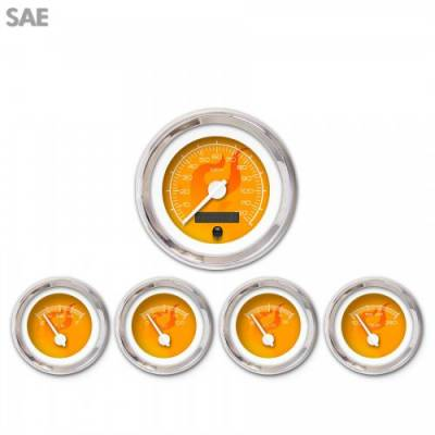 Interior Accessories - Gauges - Aurora Instruments - 5 Gauge Set - SAE Ghost Flame Orange , White Modern Needles, Chrome Trim Rings ~ Style Kit Installed