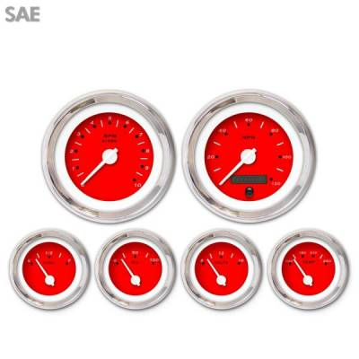 Interior Accessories - Gauges - Aurora Instruments - 6 Gauge Set - SAE Pegged Red , White Modern Needles, Chrome Trim Rings ~ Style Kit Installed