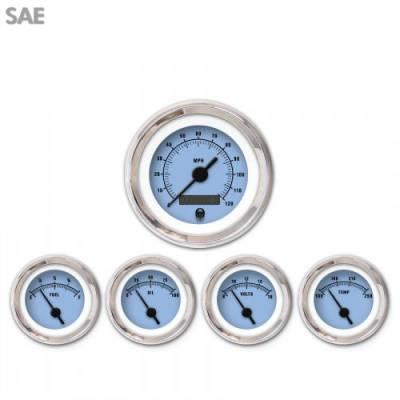 Interior Accessories - Gauges - Aurora Instruments - 5 Gauge Set - SAE Rider Blue , Black Vintage Needles, Chrome Trim Rings ~ Style Kit Installed