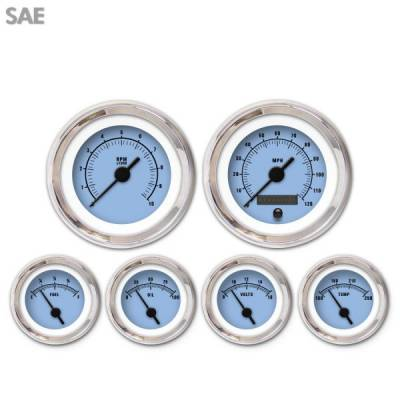 Interior Accessories - Gauges - Aurora Instruments - 6 Gauge Set - SAE Rider Blue , Black Vintage Needles, Chrome Trim Rings ~ Style Kit Installed