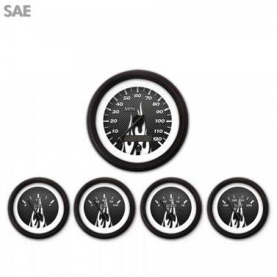 Gauges - Aftermarket Gauges - Aurora Instruments - 5 Gauge Set - SAE Carbon Fiber White Flame, Black Modern Needles, Black Trim Rings ~ Style Kit Installed