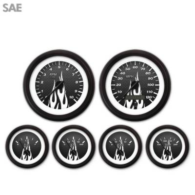 Gauges - Aftermarket Gauges - Aurora Instruments - 6 Gauge Set - SAE Carbon Fiber White Flame, Black Modern Needles, Black Trim Rings ~ Style Kit Installed