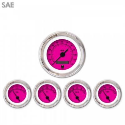 Gauges - Aftermarket Gauges - Aurora Instruments - 5 Gauge Set - SAE Rider Pink , Black Vintage Needles, Chrome Trim Rings ~ Style Kit Installed