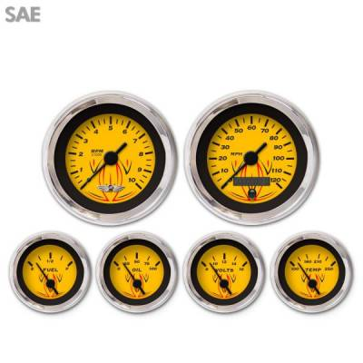 Interior Accessories - Gauges - Aurora Instruments - 6 Gauge Set with emblem - SAE Pinstripe Yellow , Black Vintage Needles, Chrome Trim Rings ~ Style Kit Installed