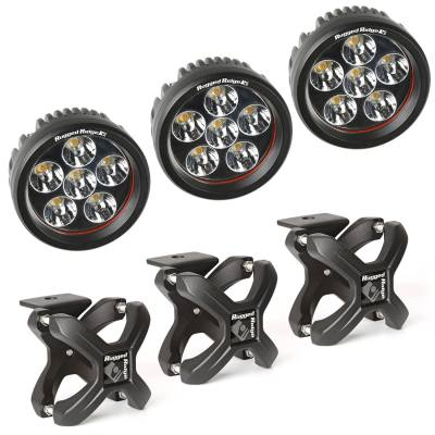 Exterior - Headlights & Foglights - Rugged Ridge - X-Clamp and Round LED Light Kit, Large, Textured Black, 3 Pieces