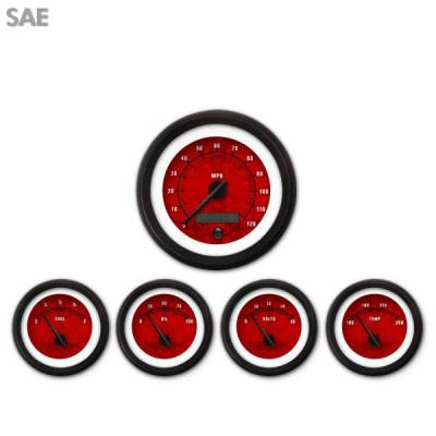Interior Accessories - Gauges - Aurora Instruments - 5 Gauge Set - SAE Tribal Red , Black Modern Needles, Black Trim Rings ~ Style Kit DIY Install