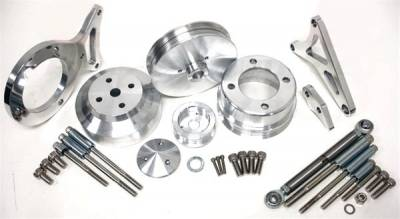 Engine - Pulleys & Brackets - CFR - Complete Serpentine Pulley & Bracket Set for Ford 5.0 Mustang 1979 to 1993 Satin Billet Aluminum