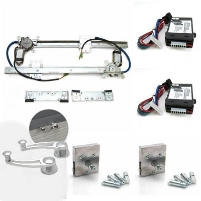 Interior Accessories - Power Window Kits - Autoloc - 2 Door Flat Power Window Kit With Billet Power Cranks And Handles