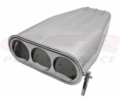 CFR - Chevy/Ford/Mopar Bug-Catcher Style Billet Finned Hood Scoop, 4 BBL