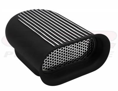 Engine - Air Scoops - CFR - Hilborn Style Four Barrel Finned Single Hood Scoop, Powder Coated Black