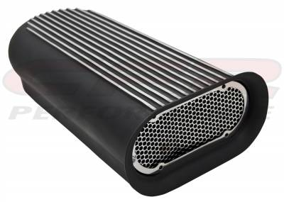 Engine - Air Scoops - CFR - Hilborn Style Four Barrel Finned Single Hood Scoop, Powder Coated Black, Elongated