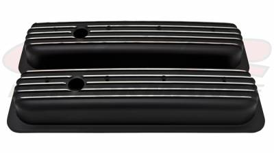 CFR - 1987-97 Chevy 5.0L & 5.7L Short Black Aluminum Finned Center-Bolt Valve Covers